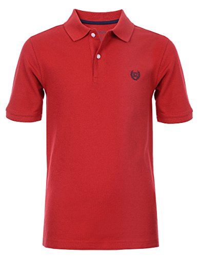 Chaps Boys' Big Short Sleeve Solid Polo Shirt, red, Small (8)