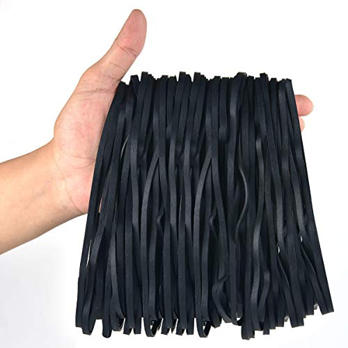 Coopay 180 Pack Large Rubber Bands, Heavy Duty Trash Can Band, Strong Elastic Bands for Office Supply, Garbage Cans, File Folders, Size 8 inches (Black)