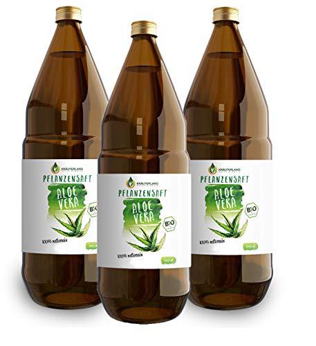 Kräuterland - Bio Aloe Vera Pflanzensaft 3x1L Glasflasche - 100% rein, handfiltriert, vegan, naturtrüb- Direktsaft