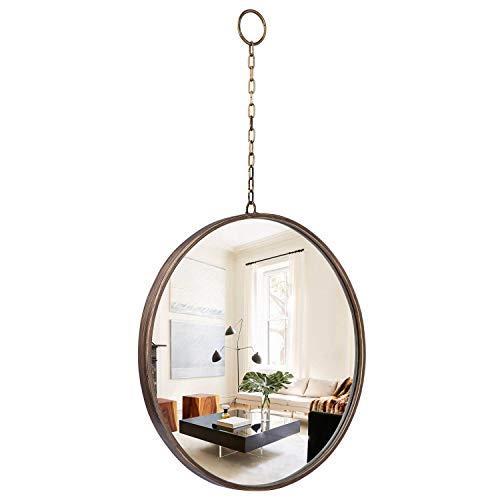 Geloo - Espejo de pared para colgar, redondo, 45,7 x 76,8 cm, con cadena, marco de metal cepillado dorado vintage para pared, granja,...