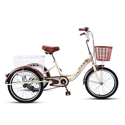 OFFA Dreirad Für Erwachsene, Erwachsene Trikes 20 Zoll 3 Radfahrräder, Doppelbremse, Hoher Kohlenstoffstahlrahmen, Dreirad-Fahrräder-Kreuzfahrt-Trike Mit Einkaufswagen Für Senioren, Frauen