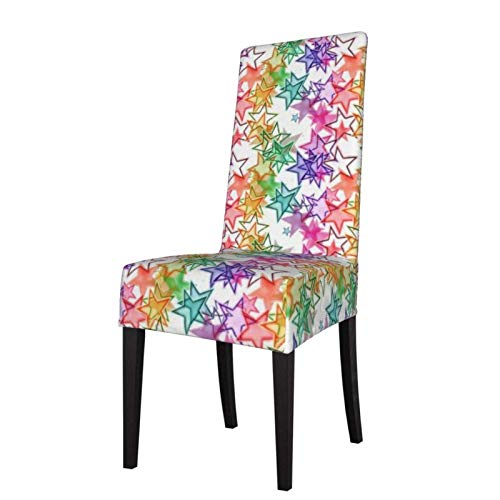 Funky Cool Colorful Retro Modern Stars Muster Stretch Printed Dining Chair Covers Soft Removable Washable Dining Chair Protector Schonbezüge für Home Kitchen Party Restaurant
