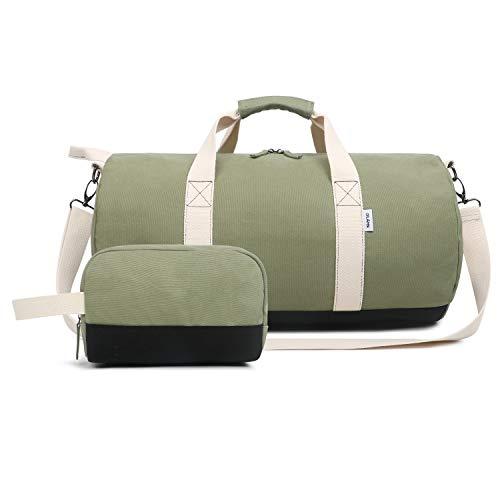Oflamn Kleine Reisetasche für Männer und Damen - Sporttasche Segeltuch Trainingstasche - Travel Duffel Bag & Sports Gym Bag (1.0 Grün)