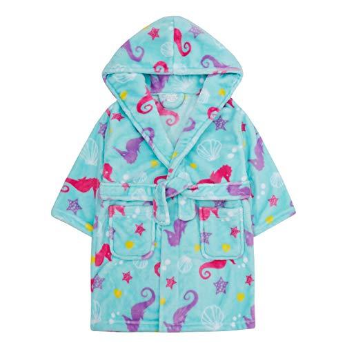 Albornoz con capucha para niñas de Lora Dora con caballito de mar y bolsillos de felpa suave para niños