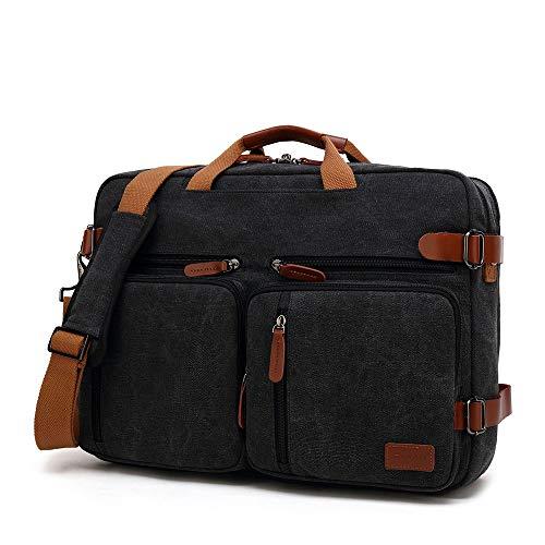 """Poooooi Herren Laptop Messenger Bag Aktentasche Handtasche Retro Style Schultertasche Wasserdicht Große Kapazität Männer Und Frauen Rucksack,14,17.3"""""""