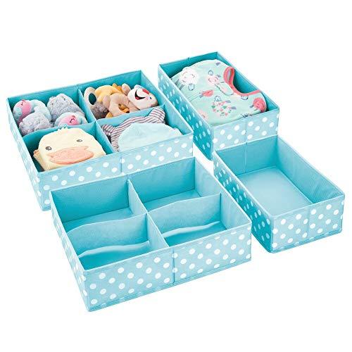 mDesign 2er-Set Aufbewahrungsboxen für Kleidung, Babysachen usw. – Kinderzimmer Aufbewahrungsbox aus Stoff – Kinderschrank Organizer mit 5 Fächern – türkis und weiß