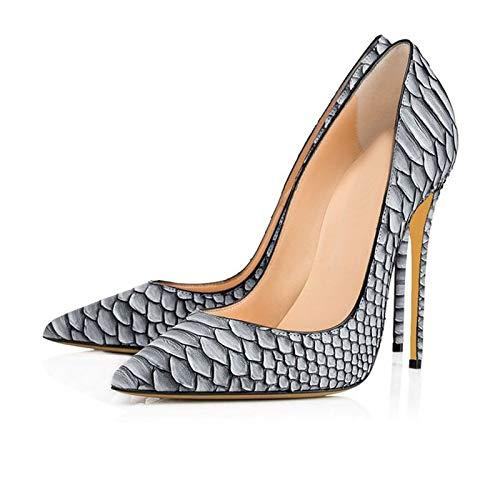 Señoras europeas y americanas sexy zapatos de boda con estampado de serpiente blanca zapatos de tacón súper alto con punta en punta gris,Negro,36EU