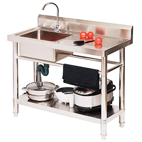 WenFei shop Stainless Steel Commercial Sink,304 Stainless Steel Free Standing Utility Sink with Console & Stand for Outdoor Indoor Garage Kitchen Laundry Room
