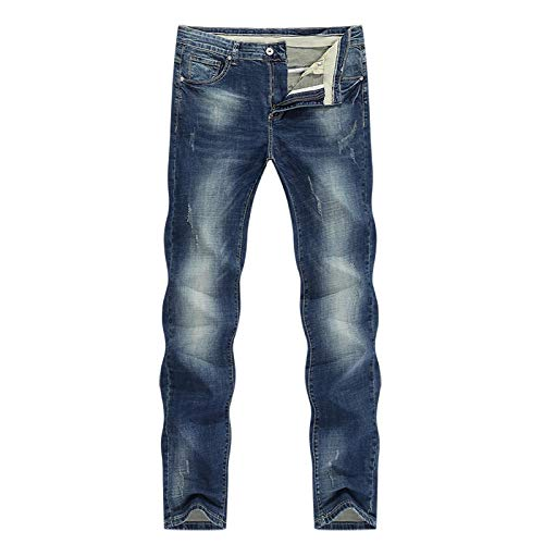 ShFhhwrl Vaqueros de Moda clásica Pantalones Vaqueros para Hombre Clásico Estiramiento Directo Azul Oscuro Pantalones De Mezclill