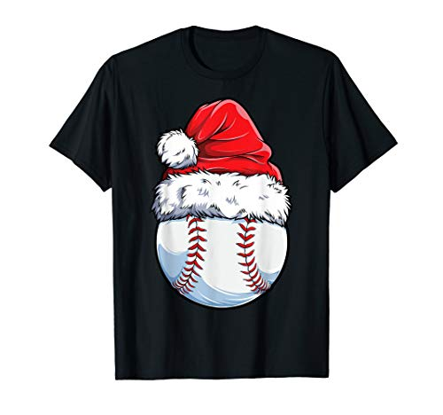 Christmas Baseball Ball Santa Hat Funny Sport Xmas Boys Men T-Shirt