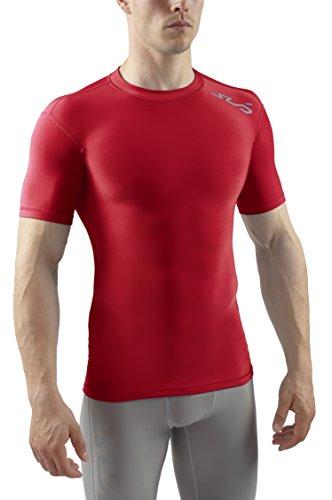 Sub Sports Herren Cold Kompressionsshirt Thermisch Funktionswäsche Base Layer Kurzarm, Rot, S