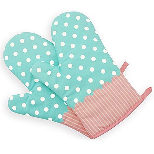 Hawiton Ofenhandschuhe Baumwolle Hitzebeständige Anti-Rutsch Topfhandschuhe Küche Backofen Handschuhe Geeignet für Kochen Backen Grillen (Blaue-Punkt)