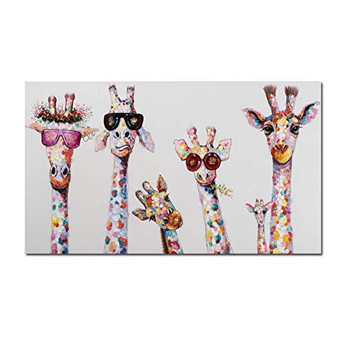 ZWBBO Dekorative Malerei Graffiti Kunst Tier Leinwand Malerei Neugierig Giraffen Familie Poster Dekorative Bild Grafik für Kinderzimmer Dekor