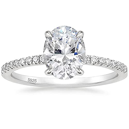 EAMTI 3CT 925 Sterling Silver Engagement Rings Oval Cut Cubic Zirconia CZ Wedding Promise Rings for Her Stunning Wedding Bands for Women Size 8