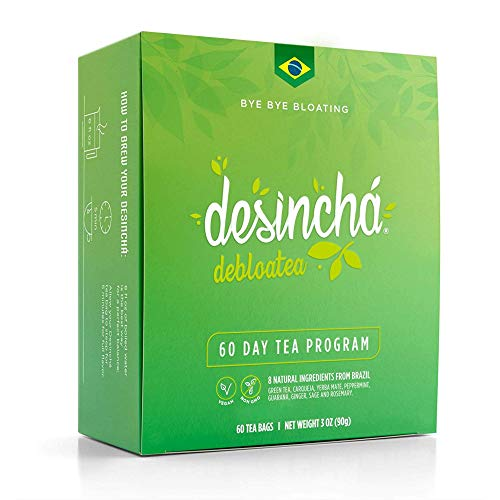 Desincha Tea - Debloatea I Ginger & Peppermint I May Increase Energy, Supports Mental Focus & Metabolic Health I Helps Improve Digestion & May Reduce Bloating I 8 Natural Ingredients I 60 Day Supply