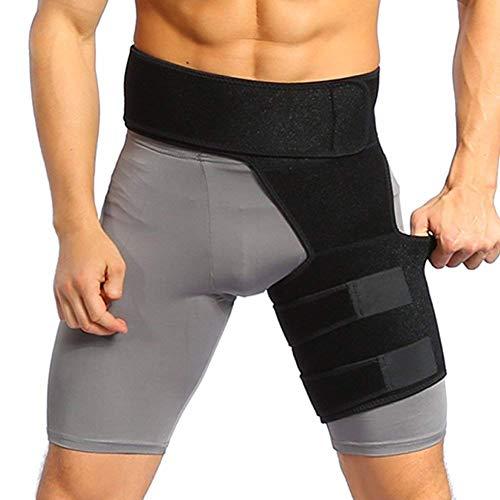 Oberschenkelbandage kompression Hüft oberschenkel bandage, Verstellbare Hüft-/Leistenstütze mit klettverschluss für Oberschenkel Schmerzlinderung, Prävention von Muskelzerrungen (Schwarz)