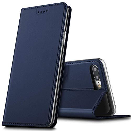 Verco iPhone 7 Plus Cover, Custodia a Libro Pelle PU per Apple iPhone 8 Plus Case Booklet Protettiva [Magnetica Integrata], Azzurro