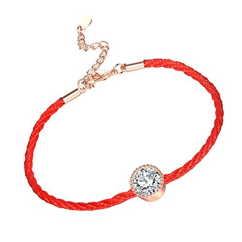 Mode Lucky Red Einkristall Romatic Lover Seil Armbänder Für Liebhaber - rot