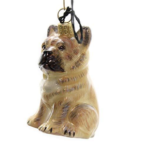 Joy To The World Cream Tan French Bull Dog Polish Blown Glass Christmas Ornament Decoration