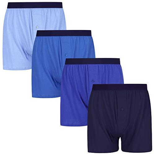 INNERSY Herren Unterhosen mit Eingriff Retroshorts Männer Boxershorts Baumwolle Mehrpack 4 (L, Blaue Serie)
