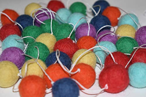 100% Wool Felt Ball Garland | Pom Pom Garland - 40 Felt Balls (25mm, Rainbow)