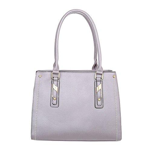 Ital-Design Damen-Tasche Mittelgroße Schultertasche Handtasche Kunstleder Lila Grau TA-K703