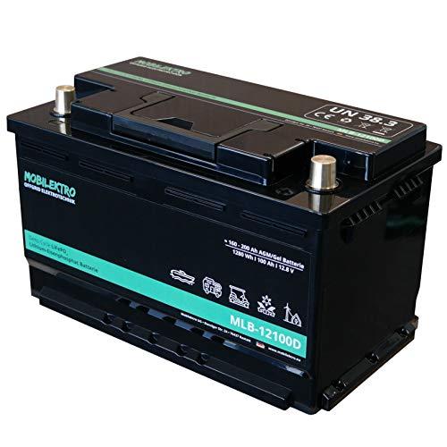 MOBILEKTRO® LiFePO4 100Ah 12V 1280Wh Lithium Versorgungsbatterie mit BMS - EQ 160Ah - 200Ah AGM oder GEL Aufbaubatterie für Wohnmobil, Boot, Camping oder Solaranlage, L5 DIN-Größe