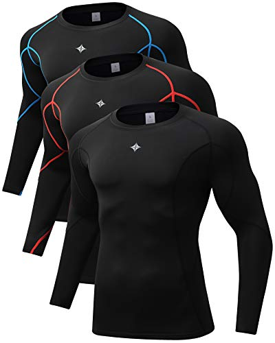 Milin Naco 3 Pack Men's Cool Dry Baselayer Tops Long Sleeve Compression Shirts-Black3-M