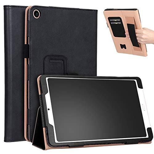 Funda protectora para tablet Xiaomi Mi Pad 4 Plus de 10.1 pulgadas 2018 de piel sintética con soporte, soporte y soporte de mano y ranuras para tarjetas (color negro):