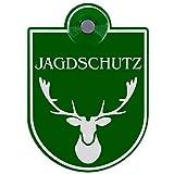 Schilderio Premium Saugnapfschild Schild Jagdschutz, 3 mm Acrylglas, ca.90x125 mm, Jagd Schild Auto mit 1x Saugnapf 30mm, Autoschild Jagdschutz zur Befestigung an Autoscheiben von innen