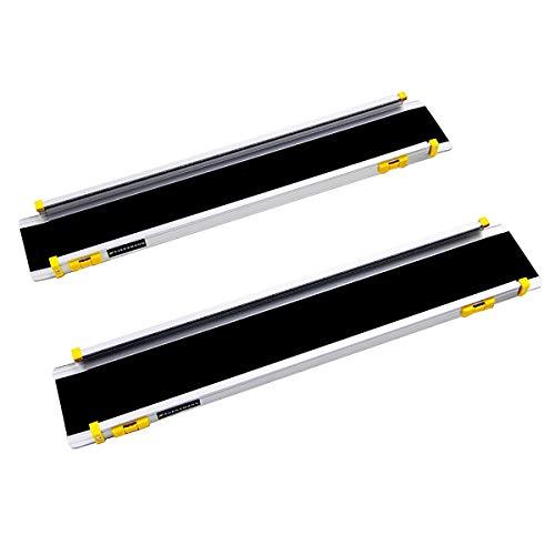JenLn Rampas para Sillas De Ruedas Tracción Portátil Antidkid Aluminio Cargando Rampa 2 Sección Rampa De Entrada Telescópica (Color : Silver, Size : 150x15.5cm)