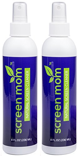 Screen Mom Screen Cleaner Kit 8oz (2-Pack) for LED & LCD TV, Computer Monitor, Electronics, Phone, Laptop Cleaning, iPad, and Flat Screen - Includes (2) 8oz Spray Bottles & Large Microfiber Cloths