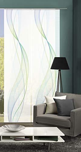 Vision S 55333-6407 | 2er-Set Schiebegardine Heights | halb-transparenter Stoff in Bambus-Optik | 260x60 cm | Farbe: Blau-Grün