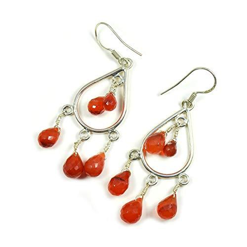 Caratyogi - Pendientes de plata de ley 925 con forma de pera de ónix rojo natural para mujer