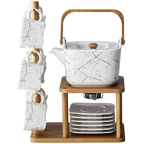 1 juego de tetera y platillo de cerámica europea juego de taza de té de mármol dorado soporte de madera taza de café juego de té de calefacción de tazas de café