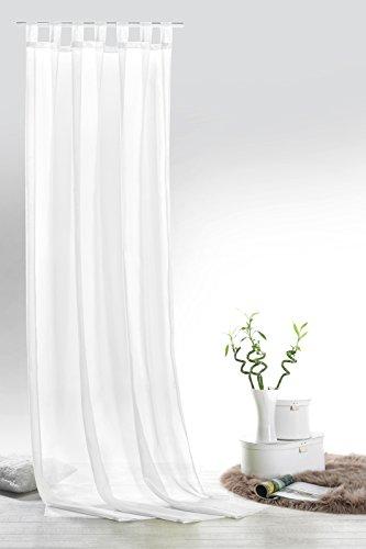 fashion and joy Schlaufenschal Voile weiß HxB 245x140 cm - transparent einfarbig - Dekoschal Gardine Typ418