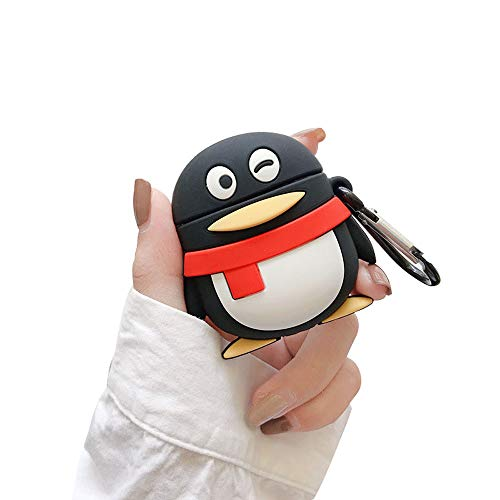 Amazing Deal BONTOUJOUR AirPods Case, Super Cute Creative QQ Scarf Penguin TPU Silicone Cover Wireless Earphone Protective Skin for Apple AirPods 1&2+Hook