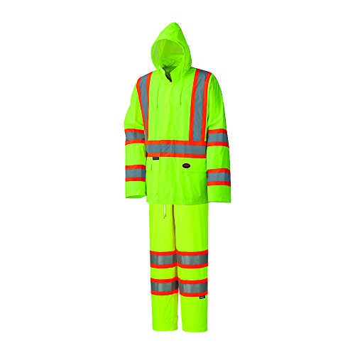 Pioneer High Visibility, Lightweight, Waterproof Safety Rain Suit, Reflective Tape, Polyester PVC, Yellow/Green, Unisex, L, V1080160U-L