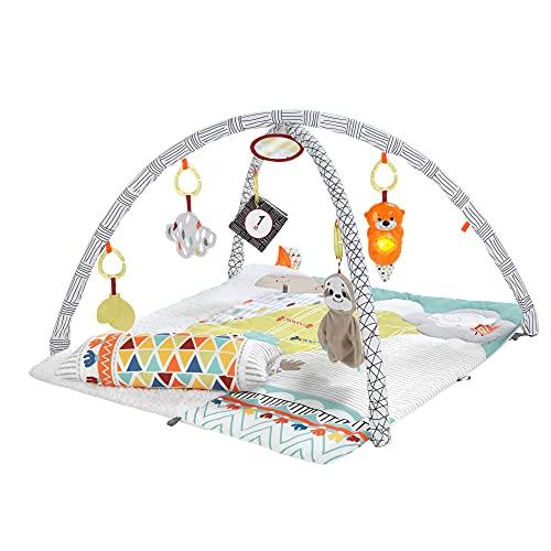 Fisher-Price Gimnasio sensorial llama, manta de juego para bebés recién nacidos (Mattel GKD45)