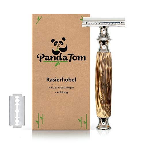 PandaTom© Premium Rasierhobel für Damen & Herren mit Bambus-Griff | Nass-Rasierer mit 10 Rasierklingen | Hochwertig & Sanft | Safety Razor Geschlossener Kamm | Nachhaltig Plastikfrei