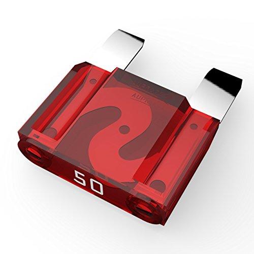 AUPROTEC Maxi Flachstecksicherung 20A - 80A Stecksicherung Schmelzsicherung Auswahl: 50A Ampere rot, 3 Stück