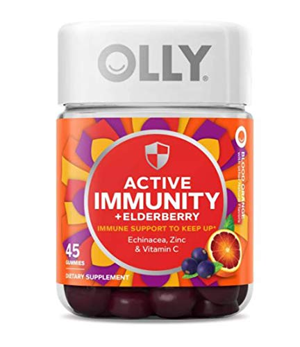 Olly Active Immunity + Elderberry Gummy Vitamins! 45 Gummies Orange Flavor! Blend Of Echinacea, Vitamin C & Zinc! Keep Your Immune System Running Strong! Choose From 1 Pack, 2 Pack Or 3 Pack! (1 Pack)