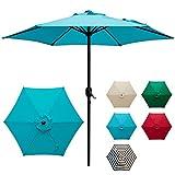 DOIFUN 9ft Patio Umbrella Aluminum Outdoor Umbrella Market Table Umbrellas with Push Button Tilt, Crank and 6 Sturdy Ribs for Lawn, Garden, Deck, Backyard & Pool, Turquoise