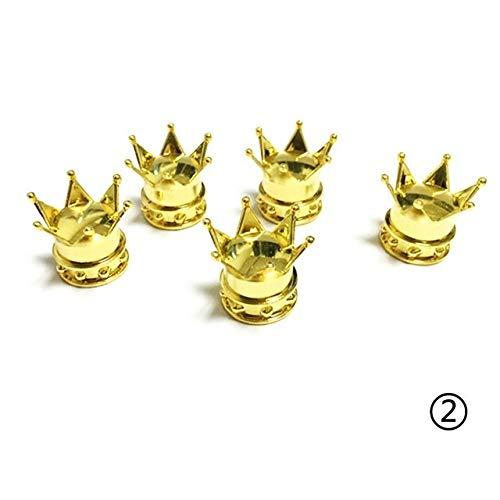 Zyj stores 4pcs Reyes Corona del neumático del neumático Rueda de Stem Tapones de Las válvulas del Polvo del Aire de la Cubierta for Coches (Color : Gold)
