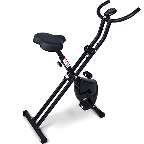 Foldable Exercise Bike Foldable Magnetic Upright Bike with 8 Resistance Levels, Cardio-Training Bike Indoor Cycling Bike for Adults