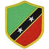 FanShirts4u Aufnäher - Saint Kitts - Wappen - 7 x 5,6cm - Bestickt Flagge Patch Badge Fahne (Gelbe Umrandung)