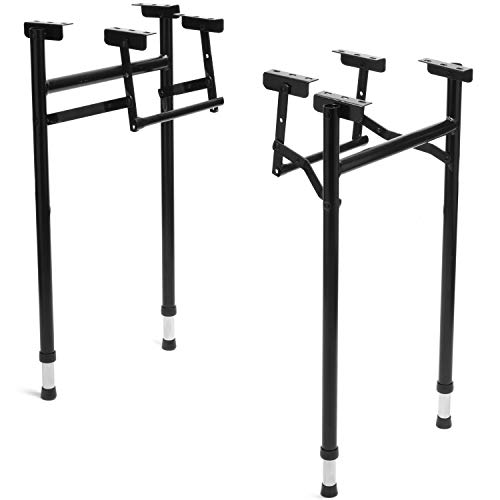 H- Style Heavy-Duty Folding Table Legs, 2-Pack - Commercial Grade Replacement Legs for DIY and Repairs - Indoor and Outdoor Use - USA Made, Durable Steel Construction (20 Inch Wide, Adjustable Height)