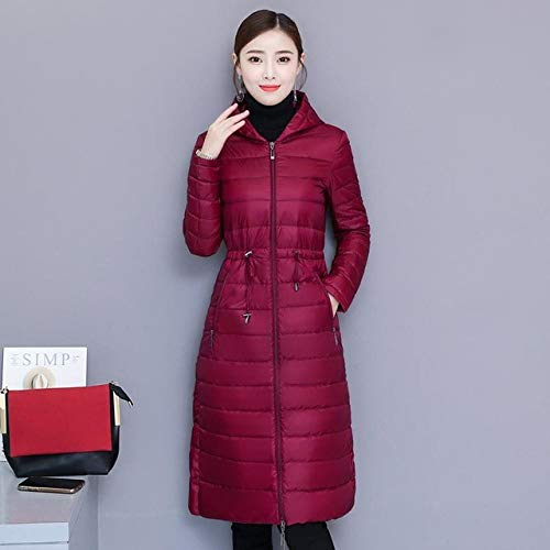 KGLOPYE Daunenmantel Winter Damen Jacke Medium Slim Hooded Parka 90% Ultraleichter Daunenmantel Freizeitjacke, Weinrot, XL