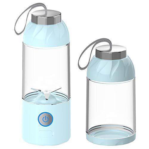 mezclador liso de vidrio portátil, carga USB, cuchilla de acero inoxidable 2 para viajes personales, jugo, vibración y alimentos para bebés, licuadora con vaso para jugo, amarillo, azul