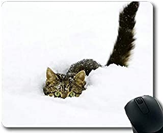 Gaming Mouse pad,Hiding Snow Tabby Cat Winter Cat Mouse pad,Mouse mat for Computer cat097